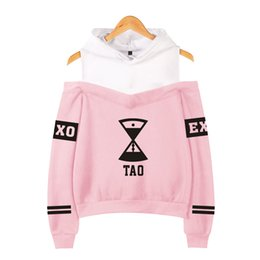 China EXO Off-Shoulder Hoodies Popular Print Women Clothes EXO Harajuku Sweatshirts Kpop Long Sleeve Tao KRIS Hoodies Sweatshirts supplier kpop exo suppliers