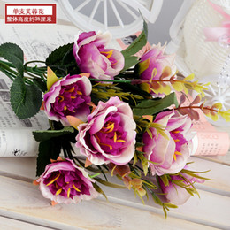 $enCountryForm.capitalKeyWord Australia - long Beautiful Rose Peony Artificial Silk hibiscus Flower small bouquet flores home party spring wedding decor mariage flowers