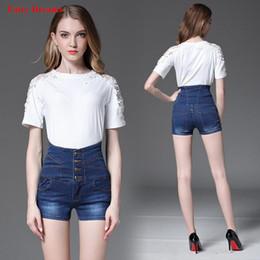 Plus Size High Waist White Jeans Australia - High Waist Jeans Women Plus Size Clothing 4XL Bleached Blue Black White Summer Denim Shorts With Pocket Button 2018 Fairy Dreams