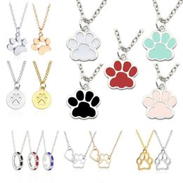 wholesale paw print Australia - Lovely Pet Cat Dog Paw Necklace Women Gold Silver Enamel Animal Claw Foot Print Necklaces & Pendants Jewelry Gift For Dog Owners