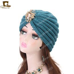 $enCountryForm.capitalKeyWord Australia - Women knit turban with jewelry brooch winter warm soft acrylic Chemo beanie Cap Sleep comfort Turban Hat Cancer Hair Loss caps