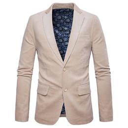 Male Fashion Suits Australia - High Quality Men's Corduroy Suits & Blazer New Fashion Male Formal Wear Suits Dress Casual Slim Suit jackets Outwear Solid Coats dsy047