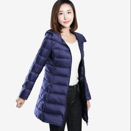 176926b16f0 2019 New Women Ultra Light Hooded Long 90% White Duck Down Jacket Autumn  Winter Warm Coat Plus Size Slim Women Jacket Yp1237
