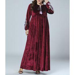 $enCountryForm.capitalKeyWord NZ - Women Plus Soze Elegant Embroidery Dresses Robe Femme Long Sleeve Arab Women Plus Size Velvet Dress Female Clothes Dresses