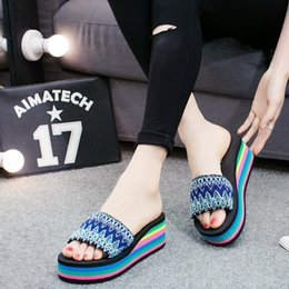 Wholesale Canvas High Shoes Australia - 2019 Women Wedges Shoes Fashion National Style Summer Sandals Indoor Outdoor Flip-flops Beach Shoes High-Heeled Platfroms