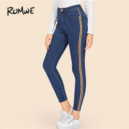 Stretchy Skinny Pants Australia - Stripe Contrast Ankle Jeans Blue Denim Pants Women Stretchy Skinny Crop Jeans Female Zipper Fly High Waist Trousers