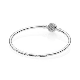 Discount full circle silver bangles - Beauty & The Beast clasp Bangle Bracelet Clear CZ 925 sterling silver bangle come with full packaging