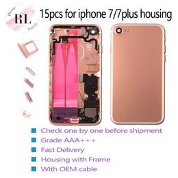 15 pcs substituto comprovada tampa traseira habitação para iphone 7 7 plus porta da bateria case com flex cable mount chassis com botões venda por atacado