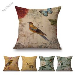 $enCountryForm.capitalKeyWord Australia - Nordic Vintage Bird Floral Post Stamp Design Home Decor Throw Pillow Case for Sofa Medium Cotton Linen Decorative Cushion Cover