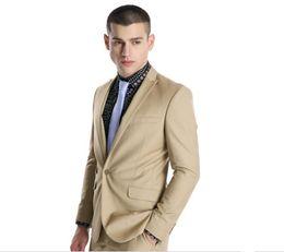 Gray Suit Champagne Tie UK - Custom Made Groomsmen Peak Lapel Groom Tuxedos Champagne Men Suits Wedding Prom Dinner Best Man Blazer ( Jacket+Pants+Tie ) O710