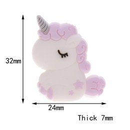 silicone nursing beads wholesale Canada - Fkisbox 5pcs Silicone Unicorn Teether Beads Cute Cartoon Rodent BPA Free Baby Teething Necklace Mordedor Nursing DIY Jewelry Toy