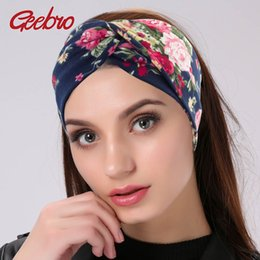 headbands for girls wholesale NZ - Geebro Women Twisted Knotted Floral Headband Summer Bohemia Floral Wide Stretch Hair Band for Girls Elastic Turban Spa Headbands