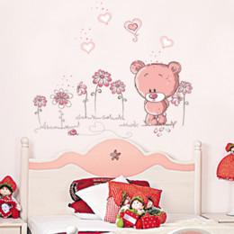$enCountryForm.capitalKeyWord Australia - Cute pink cartoon animal love bear flower baby children bedroom room decor wall stickers kids nursery decal sticker girl gift