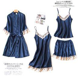 7b1e4cf648 Satin Women Sleepwear Sexy V-Neck Spaghetti Strap+Shorts+Nighty+Robe Home  Wear Casual Pajama Night dress Lace Kimono Bath Gown