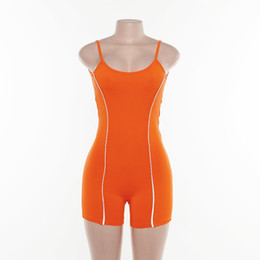 $enCountryForm.capitalKeyWord Australia - in stock Sexy Backless Women Fitness Suits Summer Jumpsuits Strips Shorts Fashion with Light Reflective Stripe Sets