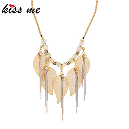 $enCountryForm.capitalKeyWord UK - kissme Unique Crystal Brass Leaves Chains Hyperbole Tassel Pendant Necklace For Women Gifts Gold Color Alloy Necklace Accessory