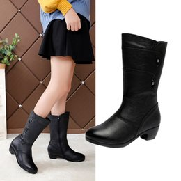 side zip shoes NZ - Women's Western Boots Leather Winter Boot Pointed Toe Side Zipper 2019 Stylish Long Tube Mid Heels Botas Mujer Warm Party Shoes