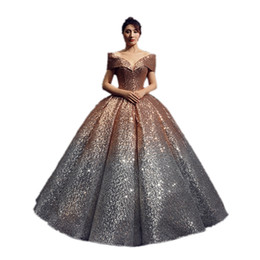 $enCountryForm.capitalKeyWord Australia - DREAM BRIDALS Shiny Sequins Ball Gown Wedding Dress Off-Shoulder Vestido De Novia Robe De Mariee Colorful Wedding Gown Bridal Dress
