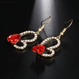 $enCountryForm.capitalKeyWord Australia - Rhinestone Love Heart Cute Drop Earrings With Red Rose Decorated Flower Earrings For Young Girl Crystal Wedding Jewelry E0396