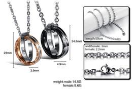 Ring Slides Australia - Fashion ring pendant, titanium steel couple necklace