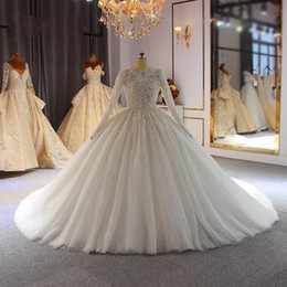 dubai wedding gowns 2020 - 2020 Luxury Sequined Beaded Ball Gown Wedding Dresses Vintage Arabic Dubai Crystal Plus Size Long Sleeves Arabic Bridal