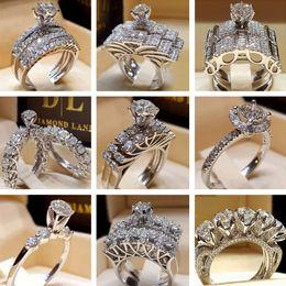 Gift Cluster Rings Australia - Diamond Crystal Rings Cubic Zirconia Rings Bling Wedding Ring Set Fashion Silver Rings Designer Shining Jewelry Lover Gift