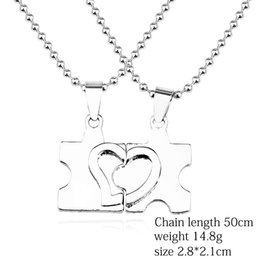 valentine pendants couple 2019 - 2pcs set Irregular Geometry Broken Heart Charms Pendants I Love You Necklaces For Couple Lover Valentines Day Gifts chea