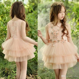 image girl flower butterfly NZ - 2019 Lovely Lace Flower Girl Ball Gowns Elegant Jewel Short Mini Ball Gown Sleeveless Butterfly Communion Party Dress Girls Pageant Dress636