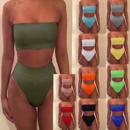 Bikini shoulder online shopping - Strapless Bikini Sexy bikinis women Set Off Shoulder Solid Bandage Push Up Padded Swimwear Swimsuit Beachwear Pluz Size MMA1673