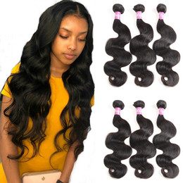 weft hair extensions 16 inch NZ - Body Wave Human Hair Bundles Indian Peruvian Brazilian Virgin 100% Human Hair Extensions Black Color8-28 inch