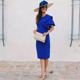$enCountryForm.capitalKeyWord NZ - Royal Blue Cocktail Dresses Sheath Tea Length Prom Dresses Jewel Neck Sleeveless Ruffles Short Satin Knee Length Evening Party Gowns