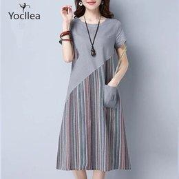 $enCountryForm.capitalKeyWord Australia - New Summer Loose Plus Size Dress Office Lady Casual Striped Patchwork Mid Long Dresses Short Sleeve A-line Dress Hy368 Y19070801