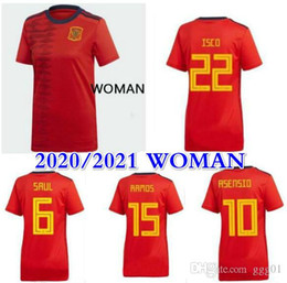 new spain shirt UK - New 2019 Spain Woman jersey INIESTA RAMOS home red Asensio COSTA SILVA ISCO top quality spain football shirt 2019 soccer jersey