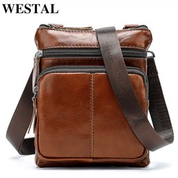 Genuine Leather Man Bag Small Australia - Westal Small Messenger Bags Men Women Bag Genuine Leather Designer Crossbody Bag Shoulder Fashion Flap Casual Zipper 701 Y19051802