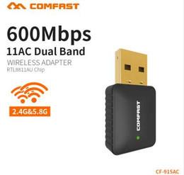 Wireless Lan Antennas Australia - COMFAST Mini AC 600Mbps WiFi Adapter USB WIFI Antenna Wi-Fi Dongle Wireless Network LAN Card for PC Desktop Receiver CF-915AC