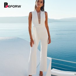 $enCountryForm.capitalKeyWord NZ - Beforw 2019 Women Sexy Sleeveless V Neck Lace Up Wide Leg Long Jumpsuit Overalls Body Suit White Causal Rompers Macacao Feminino T4190612