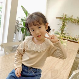 $enCountryForm.capitalKeyWord Australia - WLG girls t shirt kids autumn peter pan collar long sleeve beige pink wine red yellow tops baby girl casual all match clothes