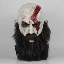 $enCountryForm.capitalKeyWord Australia - Game God Of War 4 Mask with Beard Cosplay Kratos Horror Latex Masks Helmet Halloween Scary Party Dress Up Props