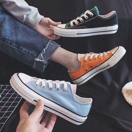 $enCountryForm.capitalKeyWord Australia - HOT Low-cut color matching two-color canvas shoes Fashion student comfortable sneakers Spring and autumn breathable casual shoes