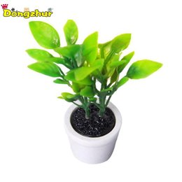 Mini tree pots online shopping - Green Miniature Accessories Mini Plastic Tree Potted Simulation Potted Plants Model Toys for Doll House Decoration WWP4073