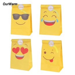 Candy Paper Bag Australia - OurWarm 12Pcs Emoji Paper Gift Bag Emoji Party Decorations Paper Bags for Candy Birthday Party Supplies with Emoji Stickers C18112701