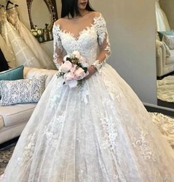 $enCountryForm.capitalKeyWord Australia - A Line Full Lace Wedding Dresses 2019 V Neck Long Sleeves Tulle Appliques Fitted Puffy Bridal Gowns BC0325
