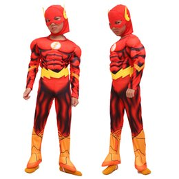 flash costume kids Australia - 2018 Boy The Flash Muscle Fancy Dress Kids Fantasy Movie Carnival Party Halloween Cosplay Costumes