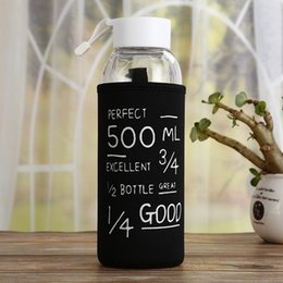 water bottle bags NZ - Hadeli 500ml Creative Single-layer Glass Water Bottles Outdoor Sports Glass Cute Water Bottle White back With Lid With Bag New T8190627
