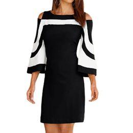 Invisible Zipper Dress UK - Women Elegant Dress Office Ladies Style Open Shoulder Three Quarter Length Sleeve Dress Invisible Zipper Back Work Dress #VE