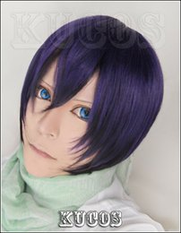 Wig Purple Mixed Australia - 621 Noragami Yato Short Purple mix Cosplay Wig Free Wig Cap