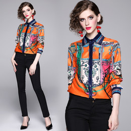 design ups shirts 2020 - New Design 2019 Fall Runway Luxury Vintage Printed Collar Womens Ladies Casual OL Office Button Front Up Dow Long Sleeve