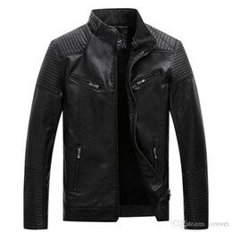 Wholesale wool biker jacket for sale - Group buy 2019 Mens Fur Coats PU Leather Jackets Biker Motorcycle Jacket Warm Tops Slim Fit Overcoat Plus Size Clothes XL XL