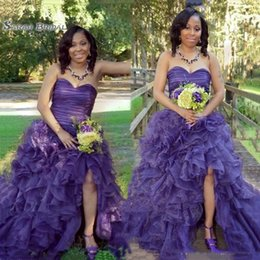 $enCountryForm.capitalKeyWord Australia - 2019 Sweetheart Purple Organza Prom Dresses Tiered Sexy Split Front Women Customized Evening Party Gowns Formal Vestidos De Soiree