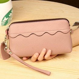 Pink cute wallet online shopping - MJ Women Wristlet Clutch Long Wallet Genuine Leather Chain Crossbody Shoulder Bag Female Floral Purse Bags Cute Mobile Phone Bag